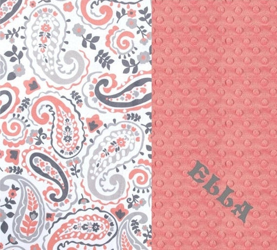 Personalized Baby Blanket, 42 x 55 Minky Blanket Girl, Floral Minky Blanket / Crib Blanket // Coral Baby Blanket / Baby Shower Gift