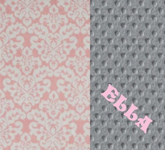 Minky Baby Blanket Girl - Damask Personalized Baby Blanket / Gray Pink Damask Blanket / Soft Baby Blanket / Name Blanket / Baby Shower