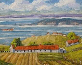 On Sale Vast Horizon - Mini Original Oil Painting - View to the lake - Cdn Landscape - created by Prankearts