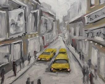 On Sale Urban Haze Cityscape - Small Original Oil Painting - Home Decor by Prankearts