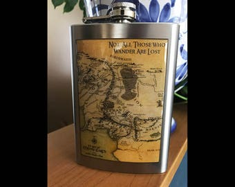 Map Of Middle Earth Not All Who Wander 8 ounce Liquor Hip Flask