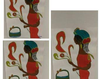 black african woman art ,black woman painting, black woman orange, flower, headcovering , locks, natural hair, abstract black art