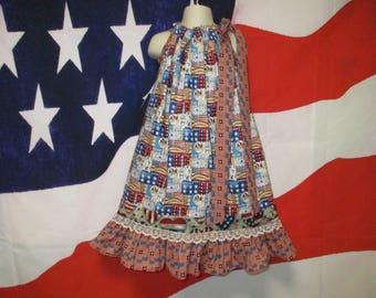 SALE Girls Dress 4th of July 6/7 Red Blue Stars Flags Eagle Pillowcase Dress, Pillow Case Dress, Sundress, Boutique Dress