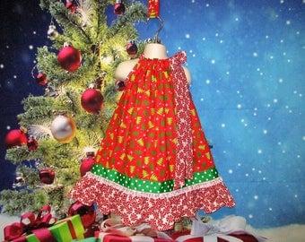 Girls Christmas Dress 3T/4T Red, Green, Christmas Trees, Peppermint Candy Pillowcase Dress, Pillow Case Dress, Sundress, Boutique Dress