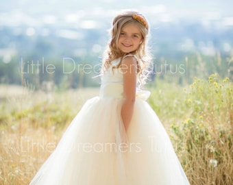 READY to SHIP - 4T - The Juliet Dress in Ivory/Light Gold - Flower Girl Tutu Dress