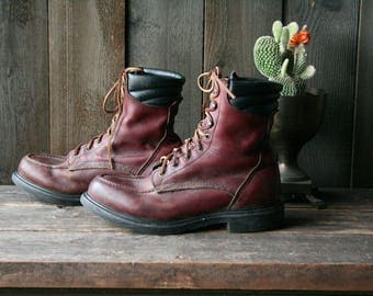 Vintage Redwing Moc Toe Boots Hunting Work Boot Combat US Mens Size 11 Oxblood Vintage From Nowvintage on Etsy