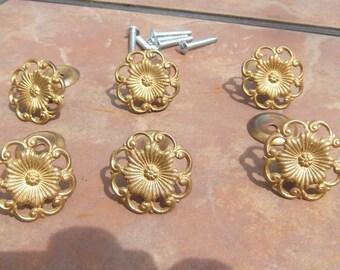 Set of 6 Antiqued Brass Filigree Door or Drawer Knobs