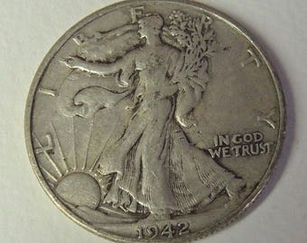 Vintage 1942 D Walking Liberty  Half Dollar - Collectable Coin - USA Coin - Silver Coin - FREE Shipping