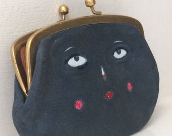 Two sided painted face navy blue vintage leather purse with clip