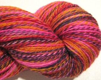 MEGA Skein Handspun yarn, Drama Queen , 594 yards DK weight, 2 ply,  Superwash BFL wool, Nylon, sock yarn,red pink purple knitting supplies
