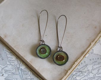 Glass Earrings  Vintage Button Jewelry