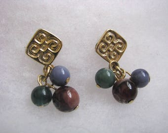 Pretty gold embossed post back earrings with blue, green, purple dangles