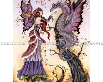 8.5x11 Dragon Charmer fairy PRINT by Amy Brown