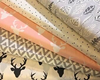 Woodland Fabric, Pink, Grey, Gray, Bundle, Baby, Girl, Hello, Bear, Deer, Triangle, Buck, Hello, Urban, Modern, Rustic, Choose, Your, Cut
