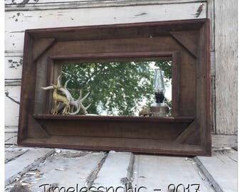 Rustic Mirror - Large Mirror - Reclaimed Wood Mirror - Rustic Picture Frame - Wall Shelf - Bathroom Mirror - Wood Mirror - Wooden Mirror -