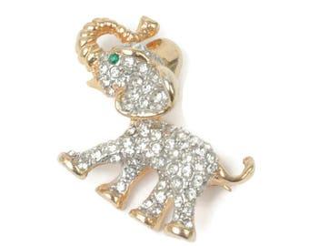 Rhinestone Crystal Elephant Pin Brooch Clear Diamante Vintage