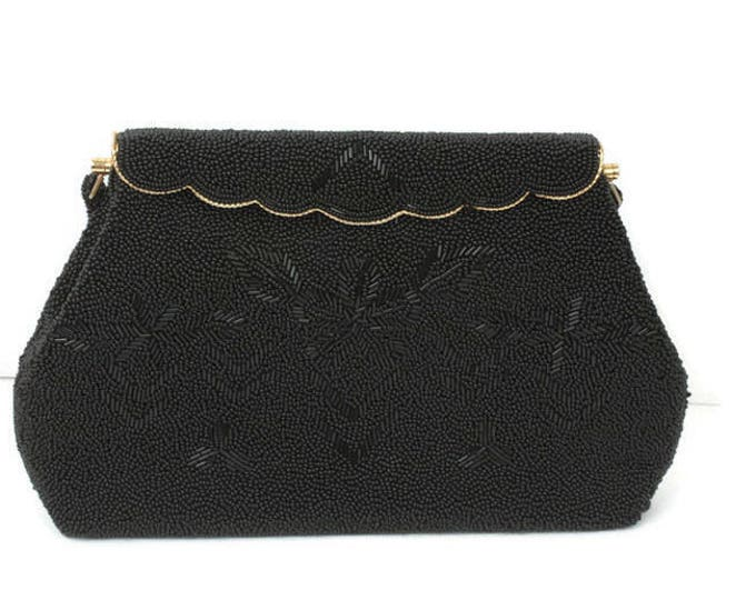 Black Beaded Evening Handbag Purse Hong Kong Vintage