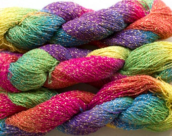 Sparkle, Hand painted fine cotton/metallic yarn, 300 yds - Holi