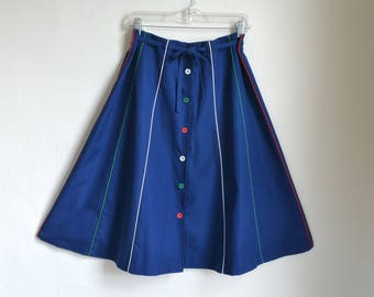 70s Piping Skirt Button Down A line Skirt Multi Gore Navy Blue with Multi Color Piping and Buttons - 32 inch waist