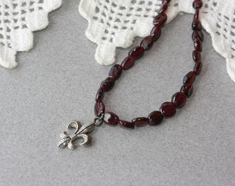 Fleur De Lis, Garnet Necklace, Oxidized Silver Necklace, Retro Trend, Downton Abbey, Victorian Style, Birthday Gift for Wife, for Sister