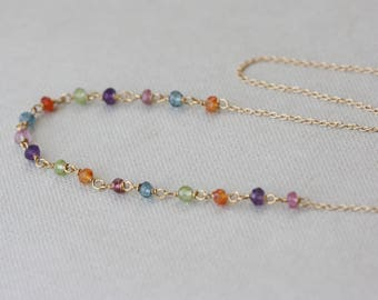 Rainbow Gemstones Necklace, Choker, Birthday Gift for Wife, for Girlfriend, Summer Necklace, for Sister, for Sweet 16, for Layering