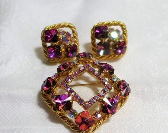 Sale 15% Beautiful Vintage Brooch Earrings Gold  Pink Rhinestones AB 3 piece set Unsigned Beauty Bling