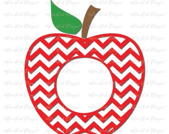 Chevron Apple Circle Monogram Frame SVG / DXF / PDF / png / jpg  for Cameo, Cricut, and other Electronic Cutters