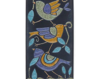 Birds ,Ceramic tile,Whimsical,purple,yellow,green, handmade, wall art, home decor, 3x6 inch raku fired art tile