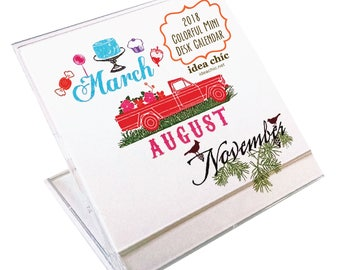 Colorful Mini 2018 Desk Calendar
