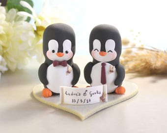 Same sex Penguin wedding cake toppers + felt base - personalized lesbian gay 2 brides or 2 grooms - homosexual ivory beige brown wheat
