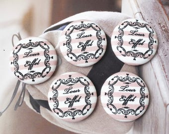 Retro Vintage Black Heart Floral Frame Handwriting Love Eiffel Tower On Pink Stripe-Handmade Large Fabric Covered Buttons(1.5 Inches, 5PCS)