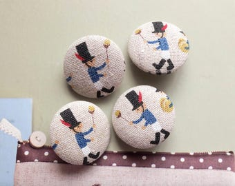 Retro Black Bearskin Hats Blue British Holiday Soldiers-Handmade Fabric Covered Buttons(LAST SET, 0.87 Inches, 4PCS)