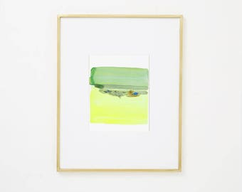 """Abstract Contemporary Original Watercolor Painting, blue, yellow green 8 x 10"""" expressionist art """"Painting 985"""" modern minimal colorful art"""