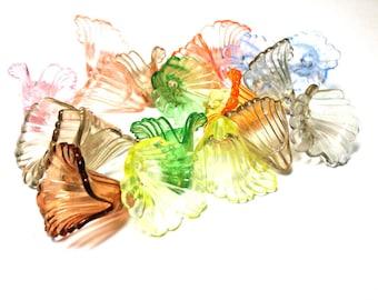 LIQUIDATION SUPPLIES, 18 Transparent Lucite Lily Flowers, Spiritcatdesigns, Assorted Colors, Closeout Sale