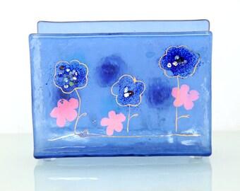 Glass Napkin holder light blue flower Fused glass art .