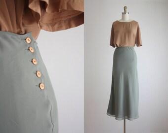 sage chiffon maxi skirt