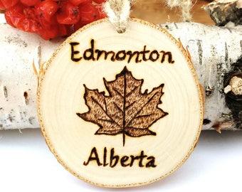 Custom Maple Leaf Ornament, Canada Birch Ornament, Wood Burned Maple Leaf Ornament