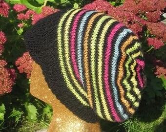 50% OFF SALE Instant Digital File PDF Download knitting pattern - madmonkeyknits Silk Stripey Peak Slouch hat pdf knitting pattern