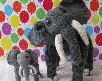 40% OFF SALE Instant Digital File PDF Download Elsie Elephant and Baby Elvis Toy pdf knitting pattern - madmonkeyknits