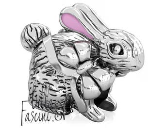 Bunny Rabbit Ribbon Easter Bead Charm - Pink Enamel Ears - 925 Silver - Fits Pandora and Compatible Bracelet Brands - BELLA FASCINI® F-55