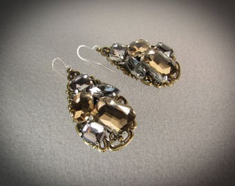 Large Gold and Gray Rhinestone teardrop cluster dangle Earrings/Antique gold/Handmade/VNV Design #0528201706