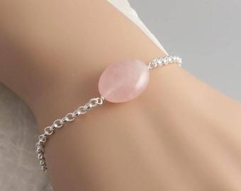 Rose Quartz Bracelet - sterling silver, gemstone pink rose quartz, october birthday