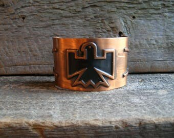 Vintage Southwestern Thunderbird Wide Large Copper Cuff Bracelet by Bell Trading Company