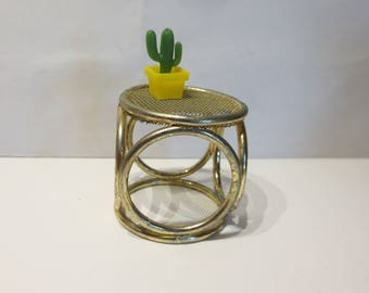 Doll house- Vintage  Brass furniture-round  table