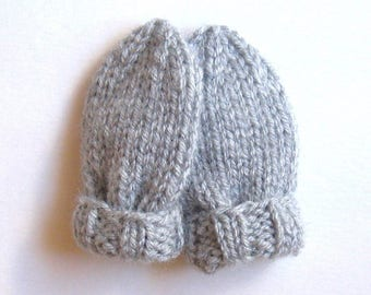 Infant Baby Mittens Size 3 to 6 Months, Hand Knit Thumbless Mitts, READY TO SHIP, Light Gray Gender Neutral Gift, Warm Winter Clothing