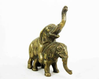 Vintage Mating Elephants Cast in Solid Brass. Circa 1960's.