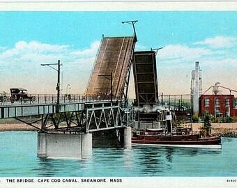 Antique Cape Cod Postcard - Old Sagamore Bridge across the Cape Cod Canal (Unused)