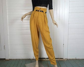 90s Linen Pants in Mustard Yellow- 1990s Baggy Tapered High Waist Harem- Small- Club Festival- Gold