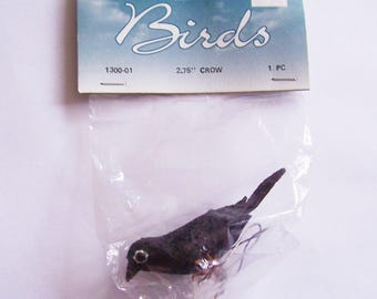 """Darice Crow Miniature with wires 1 3/4"""" high New Old Stock"""
