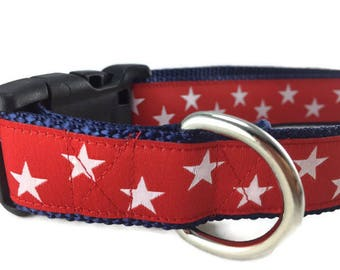Dog Collar, Red Stars, 1 inch wide, adjustable, quick release, metal buckle, chain, martingale, hybrid, nylon